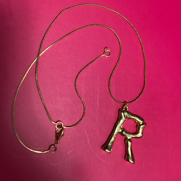 """Bamboo """"R"""" initial necklace"""